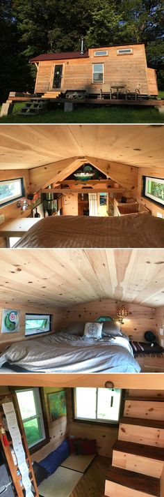 """Nestled in the trees on a five acre property is the Mayu Tiny House. Mayu (""""cocoon"""" in Japanese) was built by artist and builder Miwa Oseki Robbins."""