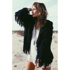 @ratandboa - Our 'ZAFFRE' Fringed Knit Jacket