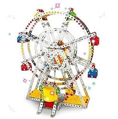 Toy Interlocking Gear Sets - Ferris wheel Building model with metal Beams and screws Lights  Music 954 pcs >>> Want additional info? Click on the image.