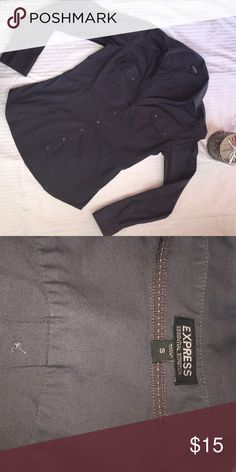 """Express Button Down Career blouse size S Excellent condition Express button down Dark Gray shirt. With convertible sleeves to wear long or short! Size small. Measures 17"""" Armpit to armpit. Express Tops Button Down Shirts"""