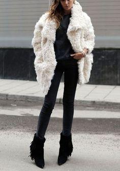 Loving the Fringe Boots  White Fur ~ la modella mafia Street Style inspiration 2014 - oversize fur