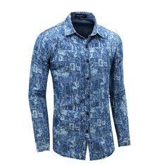e4eddba0e5 Top Selling Men s Casual Shirts Popular European and American Allover Print  Brand Design Mens Long Sleeve Jeans Cotton Shirt-in Casual Shirts from Men s  ...