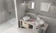 Badkamer met betonlook en mozaïek wandtegels.