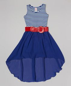 Another great find on #zulily! Royal Stripe Hi-Low Belted Dress - Girls by Maya Fashion #zulilyfinds