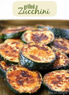 Grilled Zucchini - Bite Of Delight - I am really excited to participate in a Clean Eating Challenge this month with 19 other fantastic b - Zucchini Sticks, Zucchini Bites, Zucchini Squash, Top Recipes, Side Dish Recipes, Cooking Recipes, Healthy Recipes, Vegetarian Recipes, Summer Recipes