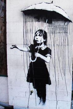 Banksy,a copy of this original  graffiti artwork now hangs in a museum