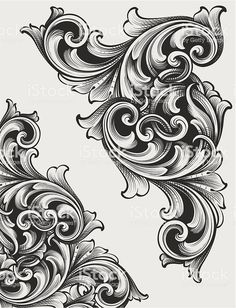 Designed by a hand engraver. Highly detailed authentic engraving… Engraved Corner Scrolls royalty-free engraved corner scrolls stock vector art & more images of Filagree Tattoo, Swirl Tattoo, Stencils Tatuagem, Tattoo Stencils, Tattoo Sleeve Designs, Sleeve Tattoos, Tattoo Sketches, Tattoo Drawings, Body Art Tattoos