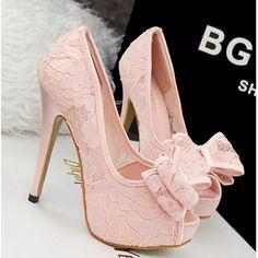 2016 new Summer Elegant Women Pumps Sexy Hollow Lace Flower Bowtie High Heel Shoes Woman Peep Toe Slip-on Platform Wedding Shoes alishoppbrasil