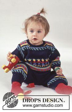 Farandole / DROPS Baby 1-11 - Peru-mønstret DROPS bluse i Safran med bukser