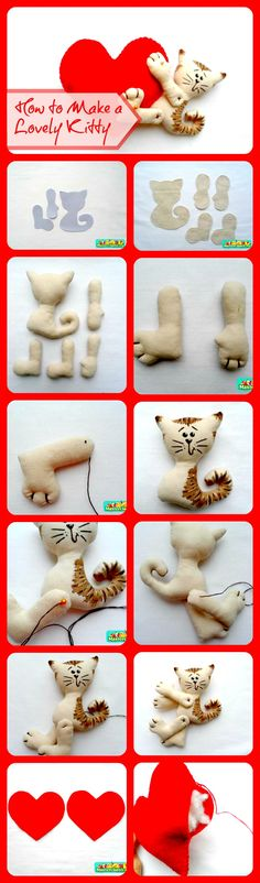 DIY Kitty & Heart Craft...Check out 90 more cat crafts on DIYManiacs.com