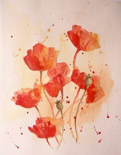 POPPY Watercolor ORIGINAL red poppy shabby chic by petalessence