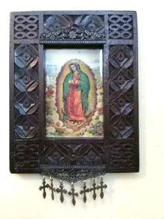 Altered assemblage upcycled virgen de guadalupe by conmismanos, $45.00
