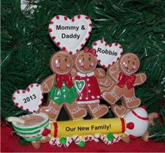 Gingerbread Family of 3 Newly Adopted Child Tabletop Chistmas Decoration | Hand Personalized Christmas Ornaments by Russell Rhodes Family Ornament, Baby Ornaments, First Christmas Ornament, Personalized Christmas Ornaments, Christmas Themes, Christmas Decorations, Dough Ornaments, Polymer Clay Ornaments, Polymer Clay Christmas
