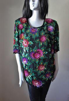 Vintage sequin blouse silk plus size black by StarsonMarsJewelryCo
