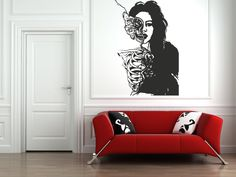 Wall Vinyl Sticker Decals Mural Room Design Pattern Zombie Girl Skeleton Butterfly Woman bo608 by RoomDecalsAndDesigns on Etsy