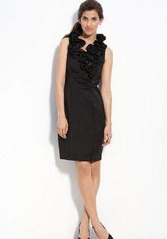 Sexy Satin Sheath/ Column V Neck Short Length Little Black Evening Dresses - 1300258037B - US$89.29 - BellasDress