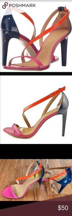 Calvin Klein Size 9 Pink, orange with blue heels Sexy Calvin Klein NWOT heels SIZE 9. These are not wide width. They are 3 1/2 inches wide and the heel is 3 inches in height. No tag but they are new in great condition. Calvin Klein Shoes Heels