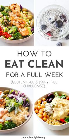 Dairy-Free Gluten-Free Meal Plan and Challenge with healthy and tasty anti-inflammatory recipes to have more energy, feel better and maybe even lose weight! The challenge includes dairy-free and gluten-free recipes for breakfast, lunch and dinner and Gluten Free Meal Plan, Gluten Free Recipes For Breakfast, Free Meal Plans, Whole Food Recipes, Eating Gluten Free, Clean Eating Recipes For Dinner, Gluten Dairy Free, Dairy Free Meals, Dairy Free Breakfasts