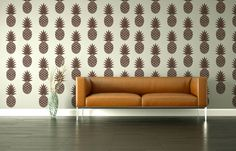 Wall Decals Pineapple Retro Geometric Fruit Hawaiian Tropical Mod Modern Pattern Abstract Mad Men Decor Shapes...different.