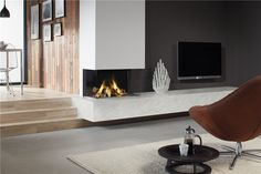 DRU - The Lugo 80/3 - Is equipped with Eco Wave burner technology. With the Eco Wave, you have 15 different flame height settings to choose from.  This fireplace, with the three-sided view of the flames, not only adds to the room's atmosphere, it also gives off substantial heat and is perfect for a somewhat larger interior. The three-sided glass window means that the high flame display is visible from practically every aspect of the living room.