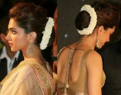 Deepika Padukone with hair bun and flowers