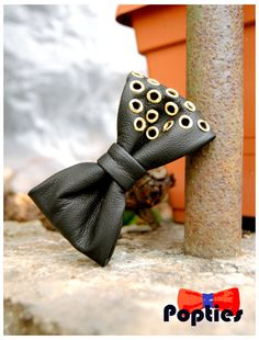 Studded black leather bow tie by Popties on Etsy, April promotion - free shipping