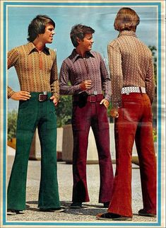 The pants in this photo are bell bottoms. Bell bottom's are tight until the knee then they bell out at the bottom. The leg opening of bell bottoms are wide, but they are not as wide as many people presume. Fashion Male, 80s Fashion, Fashion History, Vintage Fashion, 1970s Fashion For Men, Seventies Fashion, Trendy Fashion, Fashion Quiz, Polo Fashion