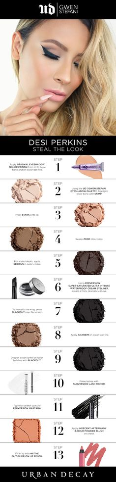 36 Ideas Makeup Eyeshadow Palette Gwen Stefani For 2019 Beauty Makeup Tips, Day Makeup, Kiss Makeup, Love Makeup, Makeup Looks, Gwen Stefani Palette, Urban Decay Gwen Stefani, Makeup Eyeshadow Palette, Eyeshadow Looks
