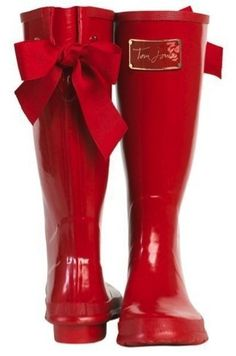 Red Rain Boots with Red Bows by agnes