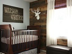The Great Outdoors.  Even if you're not the outdoorsy type, we think one look at this warm, woodsy nursery and you'll be a convert. The decor is masculine without being macho, cohesive but not theme-y and, most importantly, totally appropriate for baby. But what really dazzles us are all the rich wood tones, starting with the eye-catching, multi-hued wood accent wall -- a handsome backdrop for the crisp-white curtains and faux deer head.   DIY Tip: Not sure how long you'll want the fishing…