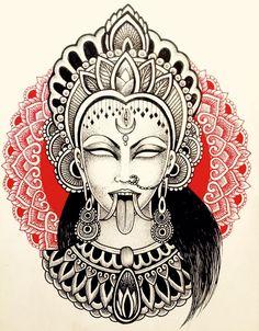 Custom tattoos by Lady Pain (Ona Cots). Goa Tattoo, Kali Tattoo, Shiva Tattoo Design, Nepal Tattoo, Lotus Tattoo, Tattoo Ink, Hindu Tattoos, Buddha Tattoos, Arm Tattoos