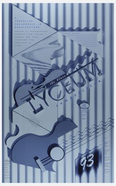 Poster depicts blue striped ground, upon which is depicted Cubist-like design of triangles, wooden pieces, partial guitars and text