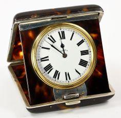 Antique Asprey Travel Clock tortoiseshell and silver, gorgeous