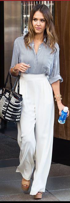 Who made  Jessica Alba�s white pants, blue shirt, and jewelry