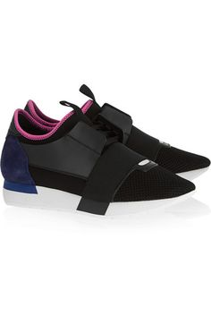 Balenciaga - Race Runner leather, suede and neoprene sneakers Balenciaga Suede, Balenciaga Bracelet, Balenciaga Sneakers, Suede Leather Shoes, Leather Trainers, Leather Sneakers, Shoes Sneakers, Womens Shoes Wedges, Shoe Collection