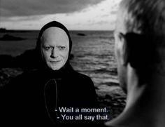 The Seventh Seal Ingmar Bergman) Bergman Film, Ingmar Bergman, William Faulkner, Lewis Carroll, The Seventh Seal, Film Inspiration, Book People, Movie Lines, Afraid Of The Dark