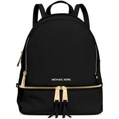 MICHAEL Michael Kors Rhea Small Zip Backpack ($315) ❤ liked on Polyvore featuring bags, backpacks, backpack, black, leather rucksack, zipper backpack, backpacks bags, leather strap backpack and black leather bag