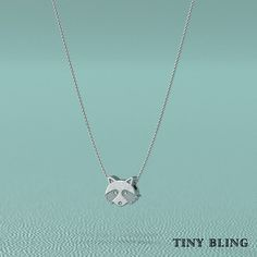 This cute Masked Raccoon Pendant comes with Diamond Eyes and a Sterling Silver chain. This adorable Raccoon is made of sterling silver and has a lightly hand burnished oxidized finish which really set