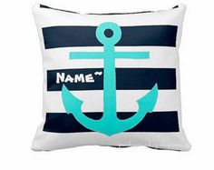 Navy/White striped pillow with striking teal anchor. This pillow is personalized with your name! Cheerful pillow for any bedroom, nursery or other nautical themed room!