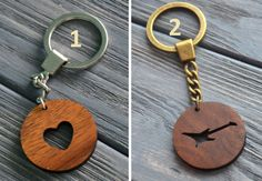 Romantic Gift Heart shaped Wooden Keychain Personalized Custom