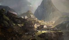 An artist rendition of life at the sacred center, Machu Picchu, evidently after 1530s because there are horses in the scene, horses that could only have come from the Spanish conquistadors, acquired,more than likely after a battle.