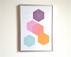 Print Set Geometric Print Series (3) Minimalist Wall Art Series Hexagons Office Decor