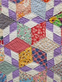 Cheery Crisp Kaleidoscope Star Scrapbag Vintage 1940s Antique Quilt 7 8SPI | eBay