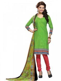 Charming Green & Pink Coloured Printed Salwar Suit
