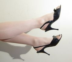 Vintage 1950s Open Toe Slingback Shoes In Black Leather 50s P Party 7 1 2 By Basyaberkman On Etsy