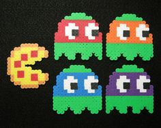 5pc TMNT Inspired PACMAN MAGNETS // Teenage Mutant Ninja Turtles Ghosts with Pepperoni Pizza Pacman // Perler Hama Fuse Beads // Pixel Art