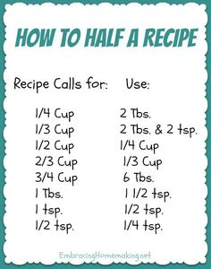 How to Half a Recipe - just in case you are cooking for yourself and dont need a whole big meal! Think Food, Food For Thought, Do It Yourself Videos, Cooking Measurements, Recipe Measurements, Ruler Measurements, Half And Half Recipes, How To Half A Recipe, Just In Case