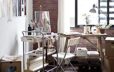 A painter's utility cart makes Justin's studio more mobile by Ikea Ikea Bygel, Creative Arts Studio, Studio Ideas, Workspace Desk, Art Studio Organization, Organization Ideas, Bedroom Art, Bedroom Inspo, Bedroom Ideas