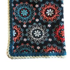 Fleece Blanket, Beautiful Soft Crocheted Edge // Large Floral Throw // Beautiful in Any Room // Hand-Crocheted Stitching - Gift For Her by AllSylviasCreations on Etsy