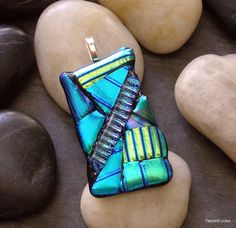 Green Blue Fused Glass Pendant, OOAK